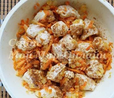 кусочки куриного филе и шинкованные морковь и лук с приправой