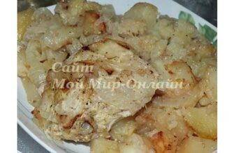 Курица в майонезе под луком с картофелем