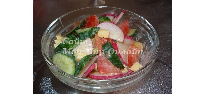 Острый овощной салат с сыром